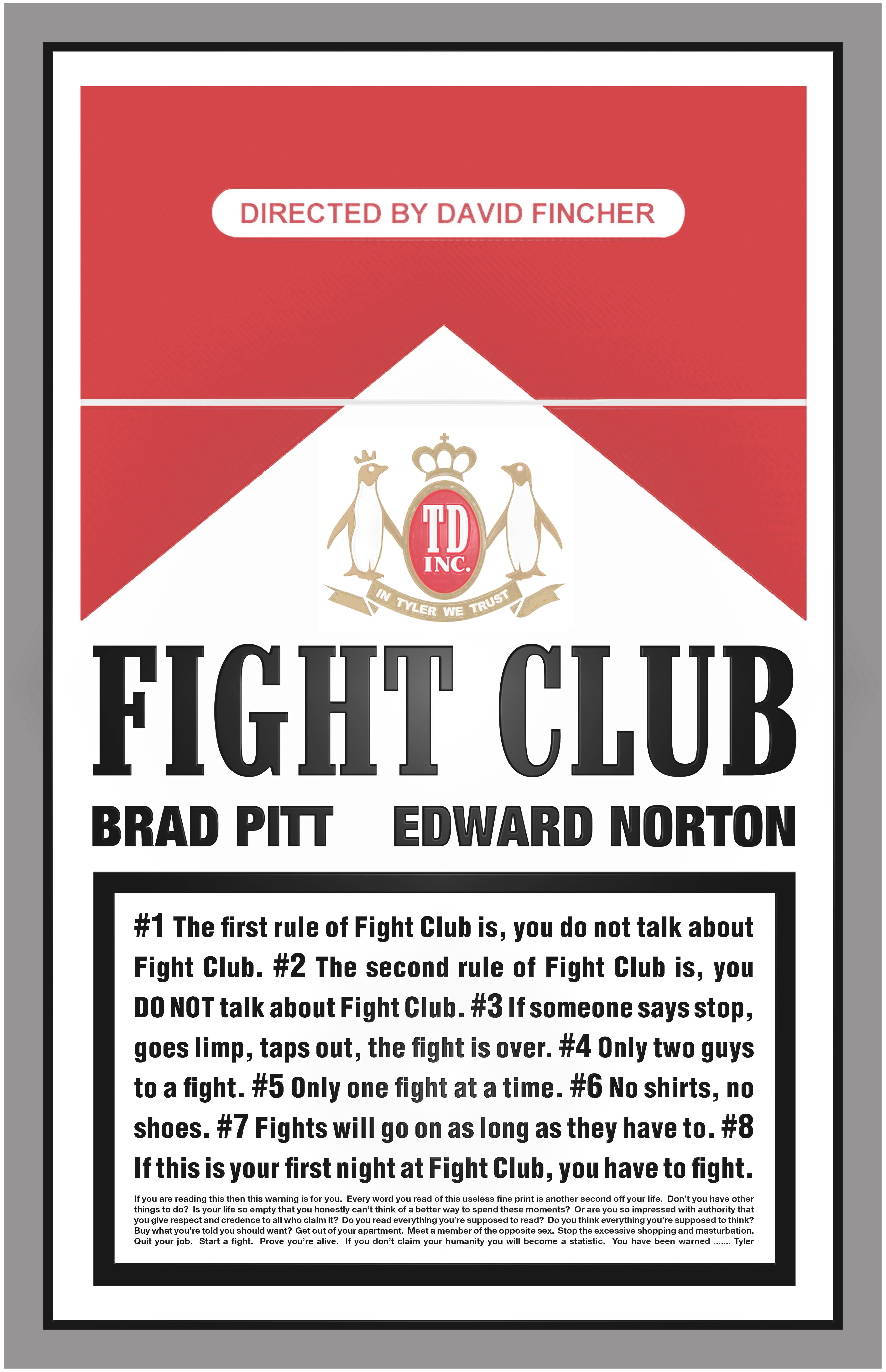fight club poster the portfolio of ross hoddinott. Black Bedroom Furniture Sets. Home Design Ideas