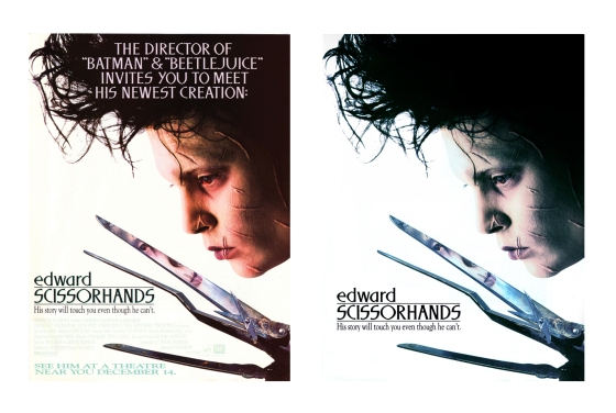 Edward Scissorhands poster - Photoshop retouch comparison